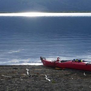 Lake Coeur d'Alene with kayak on shore