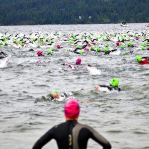 Swimmers in Lake Coeur d'Alene